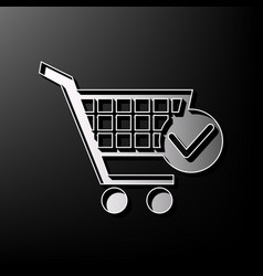 Shopping cart with check mark sign gray vector