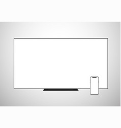 smart tv lcd screen monitor and smartphone vector image