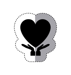 sticker of hands holding a heart vector image