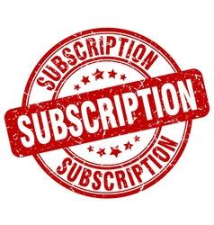 Subscription red grunge round vintage rubber stamp vector