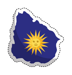 uruguay map with sun icon vector image vector image