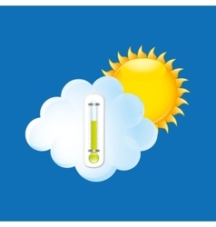 Weather forecast sun cloud thermometer green icon vector