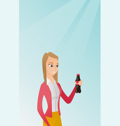 Young woman drinking soda vector