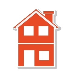 Silhouette with orange house of two floors vector