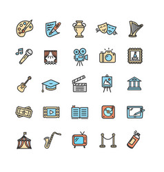 Culture and creative fine art icons set vector