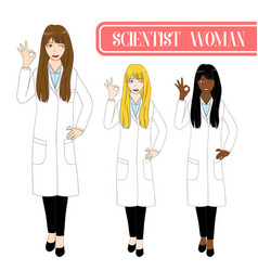 Scientist woman showing ok hand sign vector