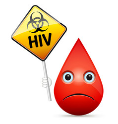 The sad drop of blood with yellow hiv virus vector