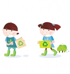 School children with recycle symbol vector