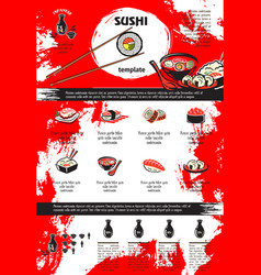 Sushi and seafood dishes menu template design vector