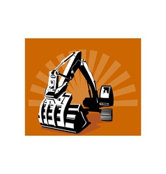 Mechanical digger excavator retro vector