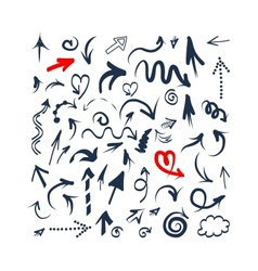 Arrows sketch set for your design vector image