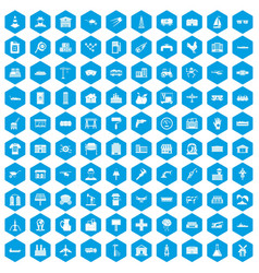 100 industry icons set blue vector
