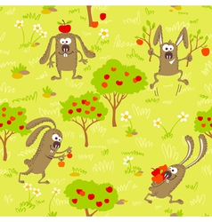 1498bunnies and apples vector image