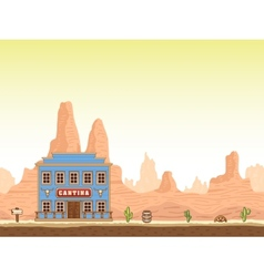 Wild old west canyon background with cantina vector