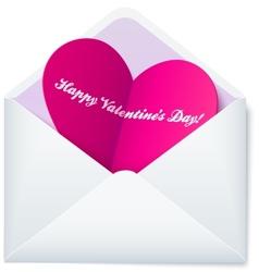 Pink folded heart in white paper envelope vector image