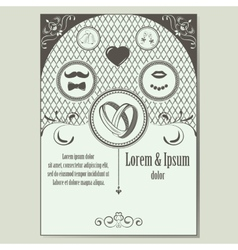 Vintage wedding invitation with place for text vector