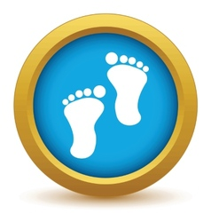 Gold foot steps icon vector
