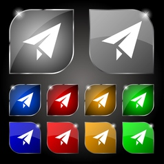 Paper airplane icon sign set of ten colorful vector