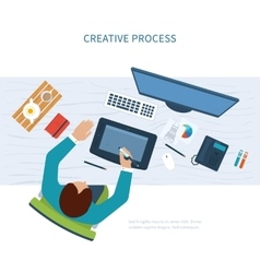Designer office workspace with tools and devices vector