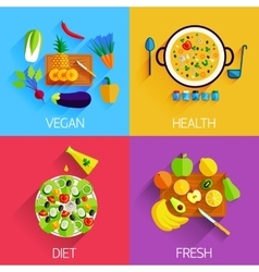 Vegetarian food diet fresh and healthy food and vector