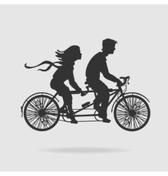 Couple on tandem bicycle vector