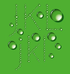 Water drop letters on green new 04 vector