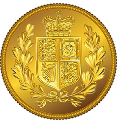 British money gold coin Sovereign with the vector image
