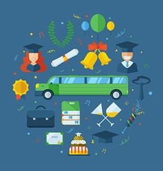 Graduation celebrating concept icon set vector