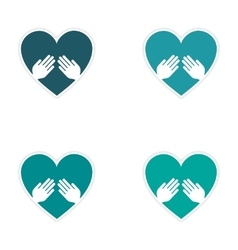 Assembly realistic sticker design on paper heart vector