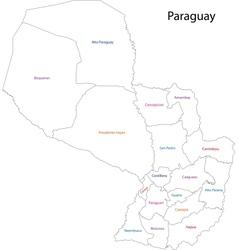 Contour Paraguay map vector image
