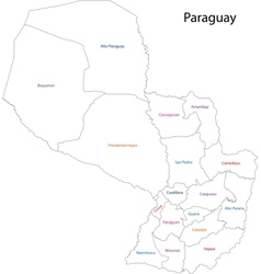 Contour Paraguay map vector image vector image