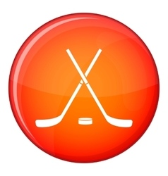 Crossed hockey sticks and puck icon flat style vector