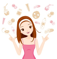 Face treatment icons girl vector