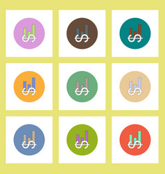 Flat icons set of column chart and dollar emblem vector