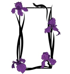frame with irises and lizard vector image vector image