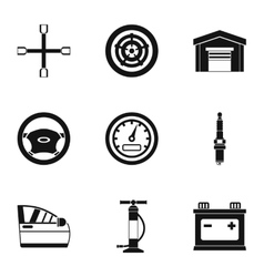 Garage icons set simple style vector