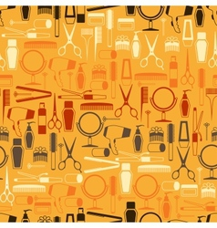 Hairdressing tools seamless pattern in retro style vector image vector image