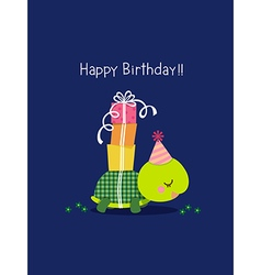 Happy birthday card with cute turtle vector