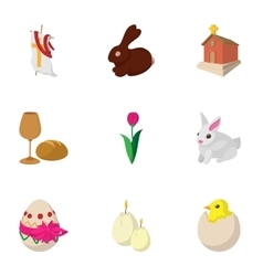 Holiday Easter icons set cartoon style vector image vector image