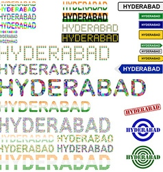 Hyderabad text design set vector