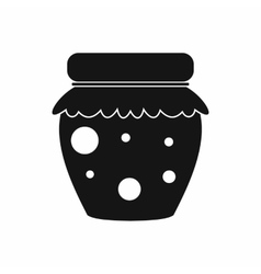 Jar of fruity jam icon simple style vector