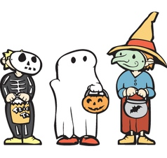 Kids in Halloween Costume vector image