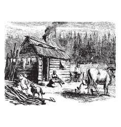 Log cabin vintage vector