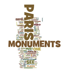 Monuments of paris text background word cloud vector