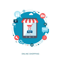Online shopping flat illiustration vector