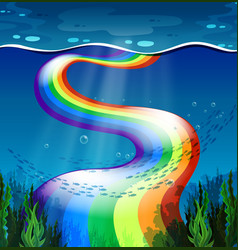 Rainbow and ocean vector image vector image