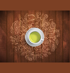 realistic cup of green tea with circle doodles vector image