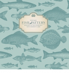 Retro fish pattern vector