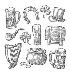 Saint patrick day hat pot coins pipe beer vector