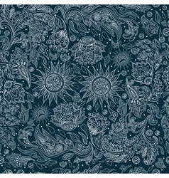Seamless ethnic tribal pattern with flowers vector